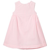 Cyrillus Pink Stripe Pleated Dress with Picot Trim Blue
