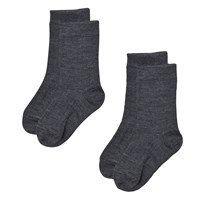 Lillelam 2-Pack Merino Wool Socks Dark Blue Mørkegrå
