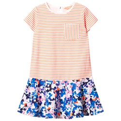 Joules Orange Stripe and Floral Jersey Dress