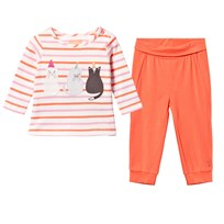 Joules Pink Stripe Cat Tee and Spotty Leggings Set MULTI CAT