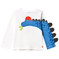 Joules White Dinosaur Print and Spine Sleeve Tee CHALK DINO