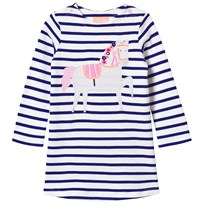 Joules Navy and White Stripe Horse Applique Dress POOL BLUE STRIPE