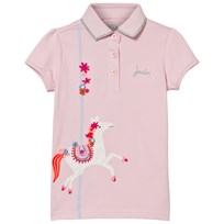 Joules Pink Merry Go Round Applique Polo ROSE PINK HORSE