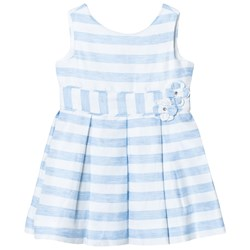Mayoral Pale Blue Stripe Bow Dress