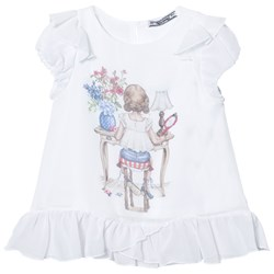 Mayoral White Girl Print Frill Top