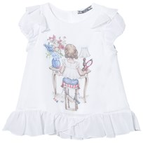 Mayoral White Girl Print Frill Detail Top 11