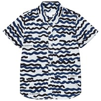 Burberry White and Navy Wave Print Clarkey Shirt Bright Navy