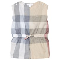 Burberry Beige Classic Check  Mini Rosanna Playsuit Pale Stone Check