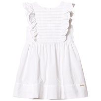 Burberry White Carrie Frill Sleeve Dress White