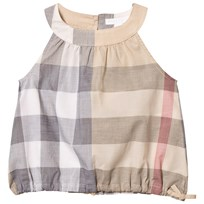 Burberry Beige Classic Check Flo Sleeveless Top with Gathered Waist Pale Stone Check