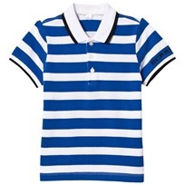 Burberry Blue and White Stripe Polo Cerulean Blue