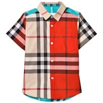 Burberry Red Multi Check Fredrick Short Sleeve Shirt New Classic Check