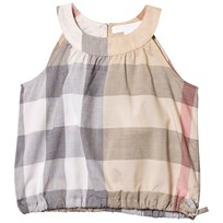 Burberry Beige Classic Check Mini Flo Sleeveless Top with Gathered Waist Pale Stone Check