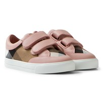 Burberry Pink House Check Mini Heacham Velcro Trainers Peony Rose Melange