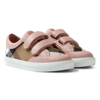 Burberry Pink Check Mini Heacham Velcro Trainers Peony Rose Melange