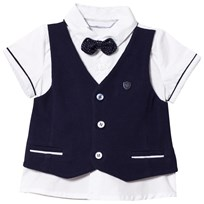 Mayoral White Shirt and Navy Waistcoat and Bow Tie 70