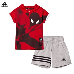 adidas Performance Red Spiderman Shorts Tee Set