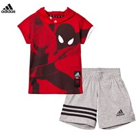 adidas Red Spiderman Shorts and Tee Set SCARLET