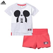 adidas Grey Red Micky Mouse Shorts Tee Set LIGHT GREY HEATHER
