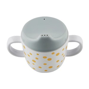 Image of Done by Deer 2-Handle Spout Cup Happy Dots Gold/Grey (3065504955)