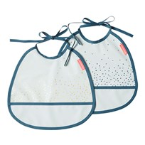 Done by Deer Happy Dots Tiny Bib 2-Pack Blue Happy dots Blue