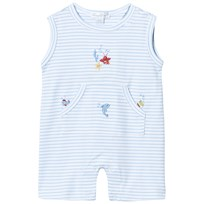 Kissy Kissy Pale Blue Sea Creature Embroidered Romper LB