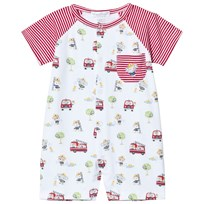 Kissy Kissy White and Red Stripe Firetruck Print Romper RD