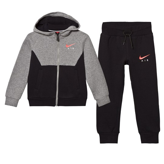 NIKE Grey and Black Air Fleece Hoodie and Joggers Set 023