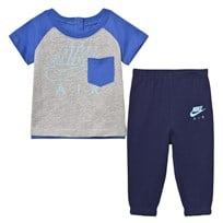 NIKE Grey and Navy Infants Air French Terry Tee and Joggers Set B9K