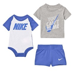 NIKE Grey and Blue Infants Tee, Shorts and Baby Body Set