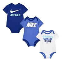 NIKE Pack of 3 Blue Printed Baby Bodies 000