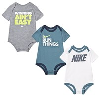 NIKE Pack of 3 Green Printed Baby Bodies 000