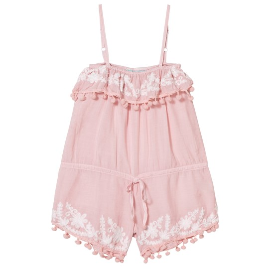 Melissa Odabash Pink Embroidered and Pom Pom Playsuit Pink