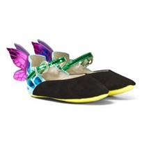 Sophia Webster Mini Chiara Baby Black Suede and Fluro Butterfly Shoes Black & Teal