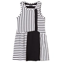IKKS White and Black Stripe Jersey and Pleated Dress 01
