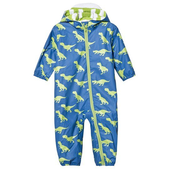 Hatley Blue Dinosaur Print Puddle Suit Blue
