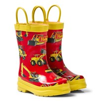 Hatley Red Diggers Print Wellies Red