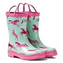 Hatley Turquoise Horse Print Wellies Turquoise