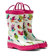 Hatley Cream Tropical Birds Print Wellies White
