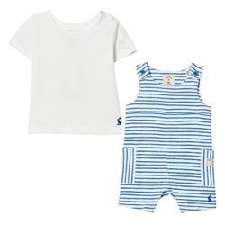 Joules Blue Stripe Jersey Dungaree and Tee Set