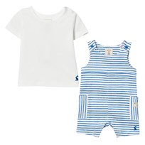 Joules Blue Stripe Jersey Dungaree and Tee Set Blue Stripe