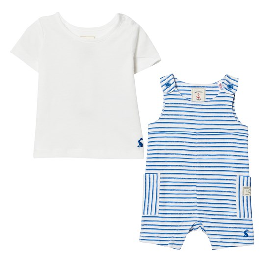 Tom Joule Blue Stripe Jersey Dungaree and Tee Set Blue Stripe