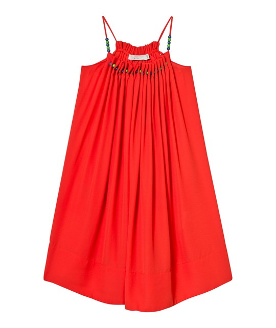 Stella McCartney Kids Hope Dress with Beads Red 7545