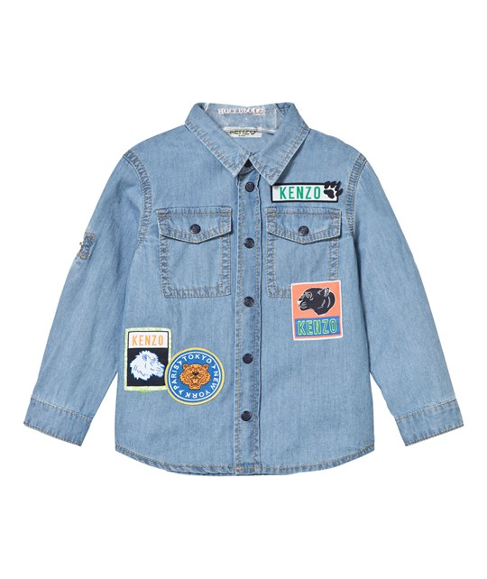 Kenzo Blue Chambray Badge Shirt 460