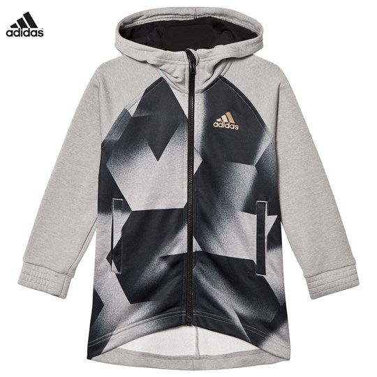 adidas Performance Fotball Silo Full Zip Hoodie Grå MEDIUM GREY HEATHER