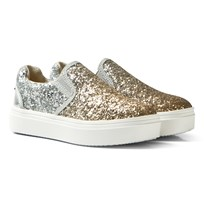 Stuart Weitzman Silver And Gold Glitter Slip On Trainer DMARCIA