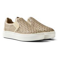 Stuart Weitzman Double Marcia Gold Slip On Trainers DMARCIA