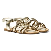 Stuart Weitzman Camia Woven Gold And Silver Sandals CWOVEN