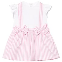 Il Gufo Pink Stripe Cotton and Jersey Bow Dress 345