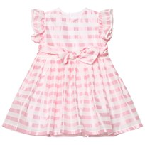 Il Gufo Pink Stripe Silk Seersucker Frill and Bow Dress 312
